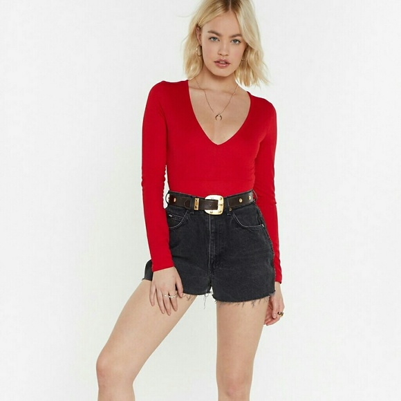 Nasty Gal Tops - Nasty Gal New York Red Bodysuit US Size 2